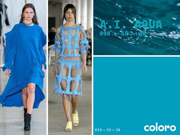 Tendências de cores para 2021: modelos desfilando com a nova cor tendência azul A. I. Acqua.